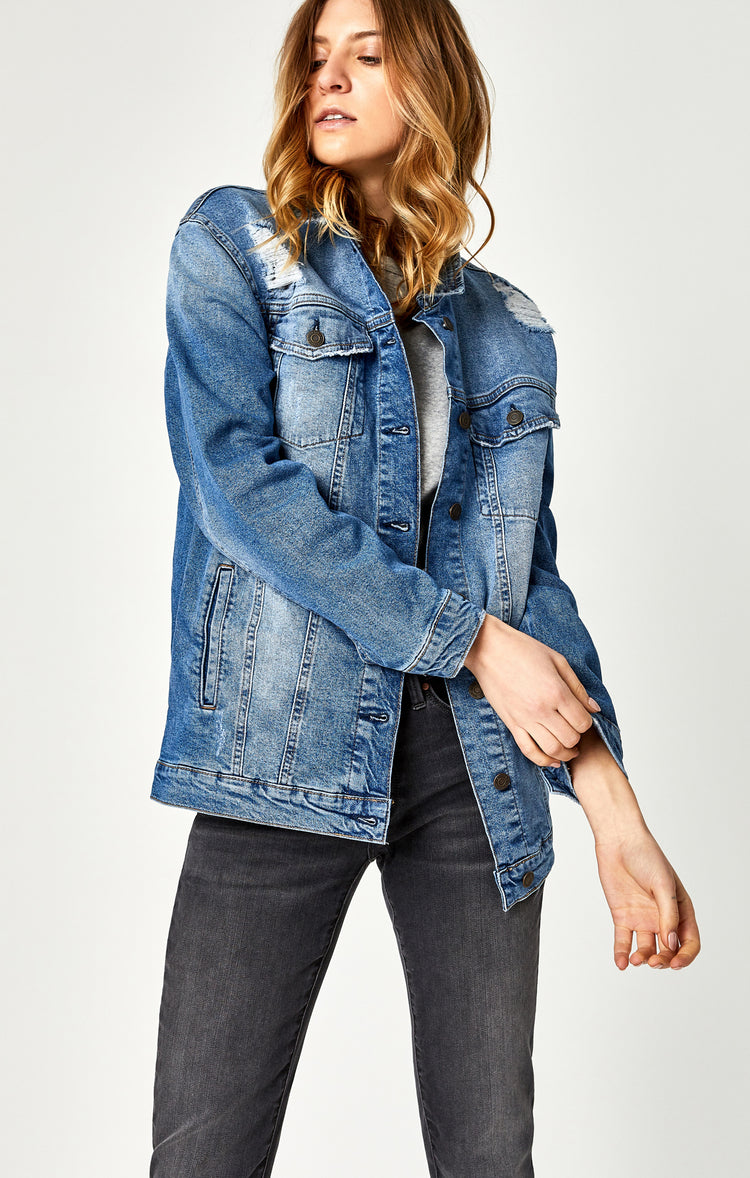 JILL BOYFRIEND JACKET IN MID RIPPED RETRO - Jackets - Mavi Jeans