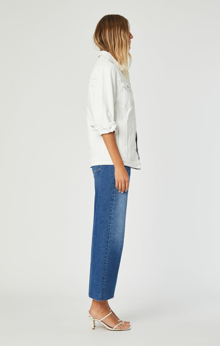 JILL BOYFRIEND JACKET IN WHITE RIPPED STRETCH - Mavi Jeans