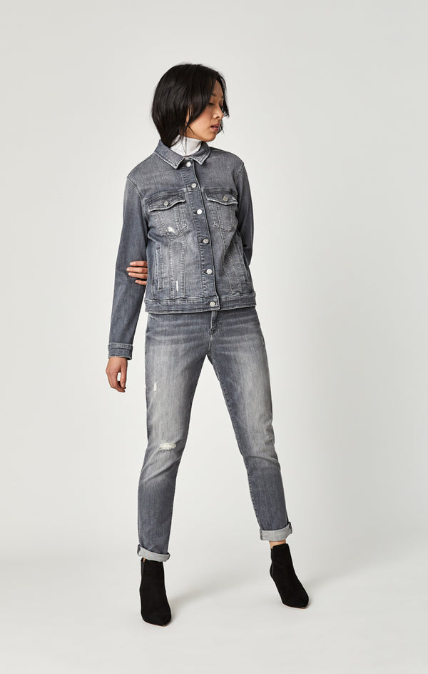 KATY DENIM JACKET IN MID GREY TRIBECA - Mavi Jeans