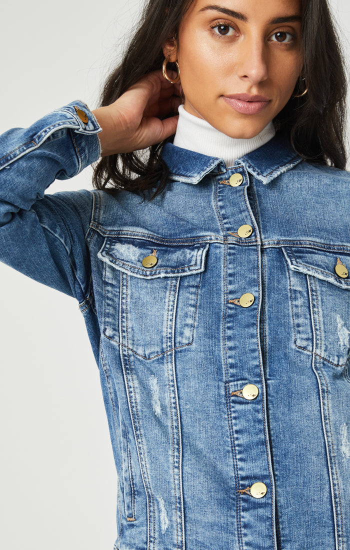KATY DENIM JACKET IN RIPPED & FRINGE VINTAGE - Mavi Jeans