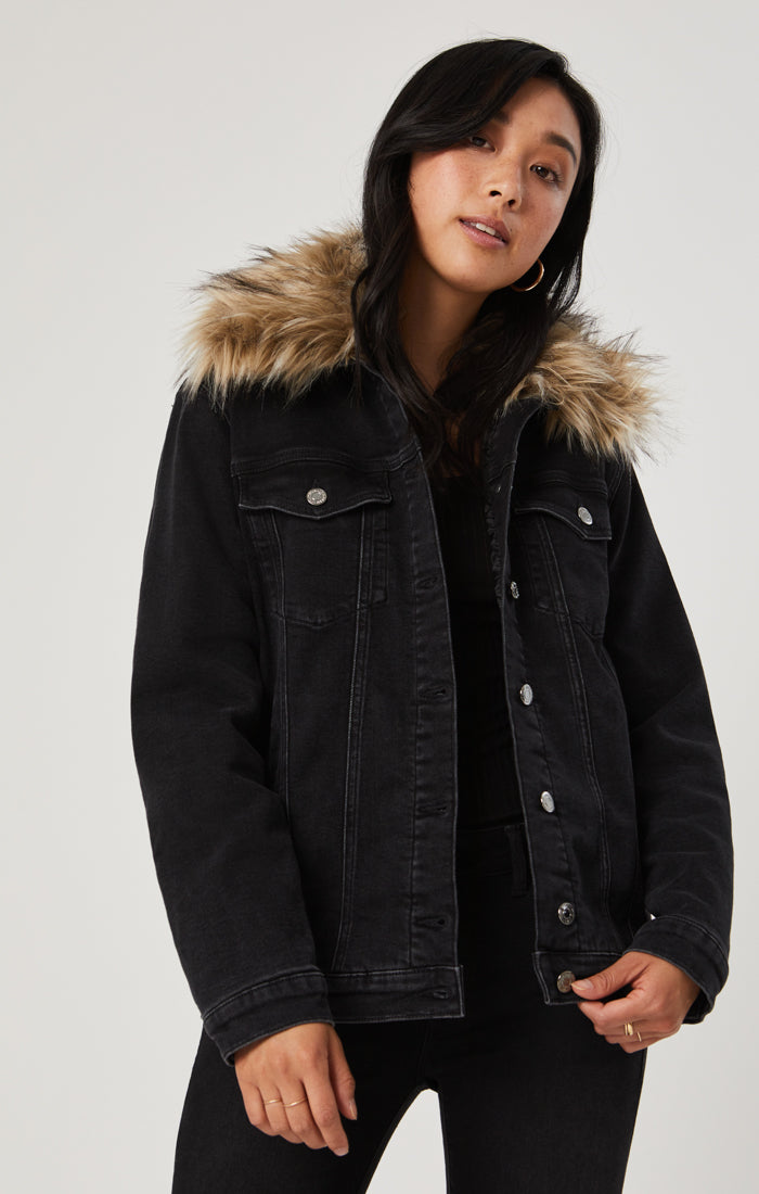 KARLA DENIM JACKET IN SMOKE FAUX FUR - Mavi Jeans