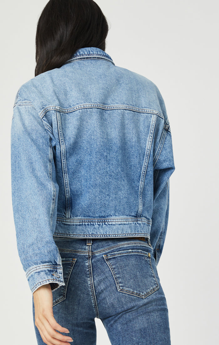 ROSA CROPPED DENIM JACKET IN LIGHT DENIM - Mavi Jeans