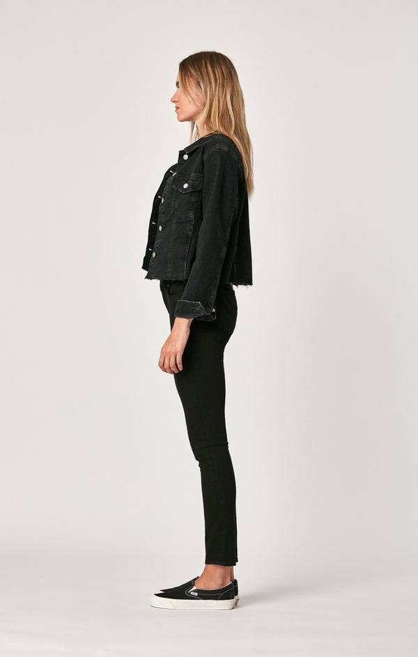 SIENNA CROP JACKET IN SMOKE STRETCH - Mavi Jeans