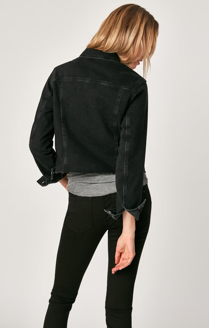 SIENNA CROP DENIM JACKET IN SMOKE STRETCH - Mavi Jeans