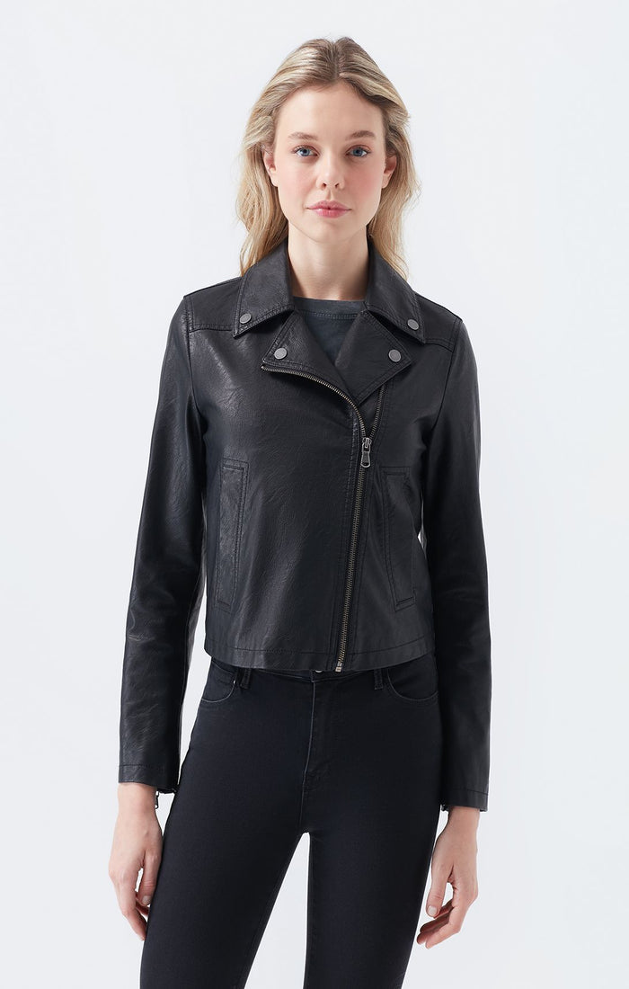 ANN SLIM FIT FAUX LEATHER JACKET IN BLACK - Mavi Jeans