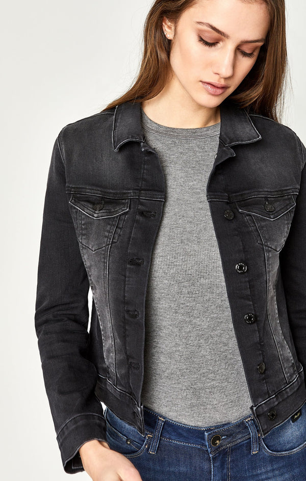 SAMANTHA DENIM JACKET IN DARK SMOKE SUPERSOFT - Mavi Jeans