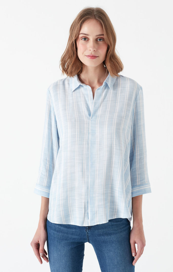 SHAE V-NECK BLOUSE IN WHITE STRIPED - Mavi Jeans