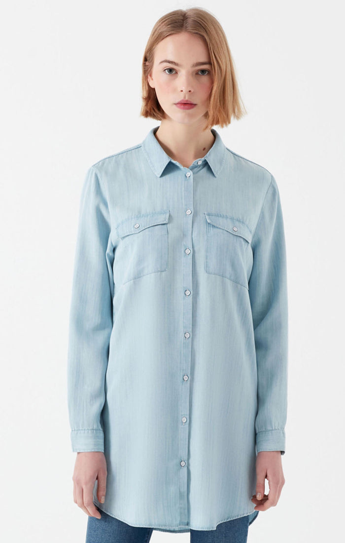 PRIM LONG BUTTON-UP BLOUSE IN LIGHT BLUE - Mavi Jeans