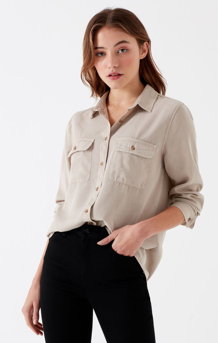 MARLENE BUTTON-UP BLOUSE WITH POCKETS IN TAN - Mavi Jeans