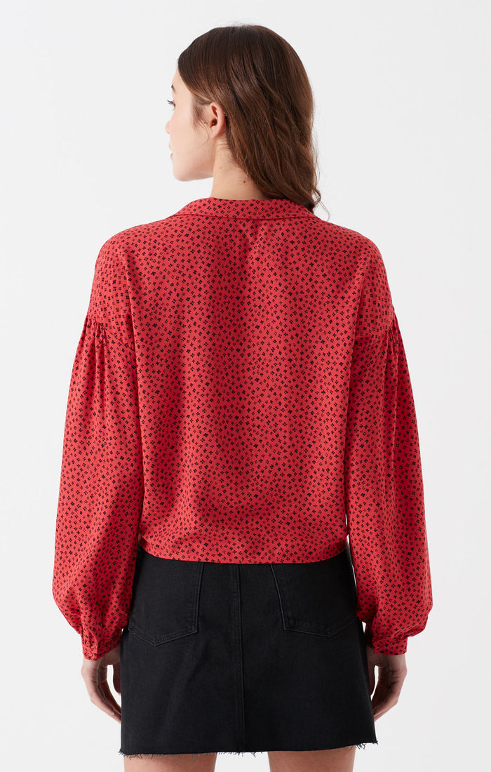BREE CROPPED BUTTON-UP BLOUSE IN RED - Mavi Jeans