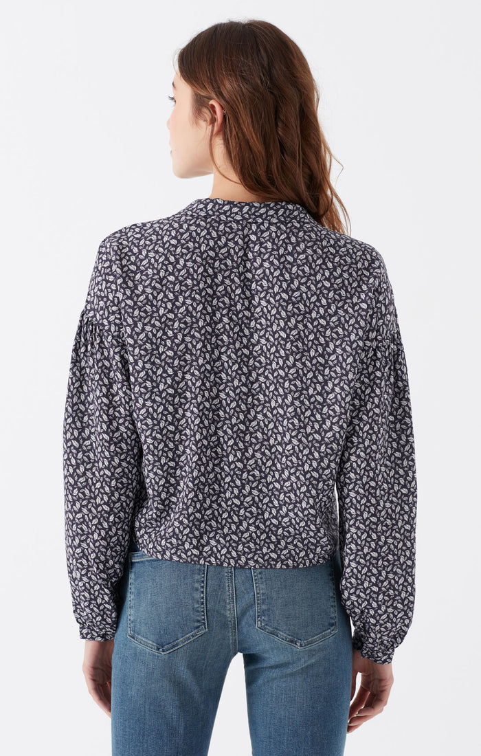BREE CROPPED BUTTON-UP BLOUSE IN NAVY - Mavi Jeans