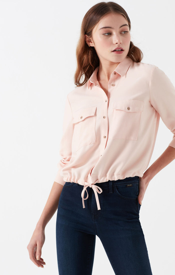 NEVE DRAWSTRING BUTTON-UP BLOUSE IN LIGHT PINK - Mavi Jeans