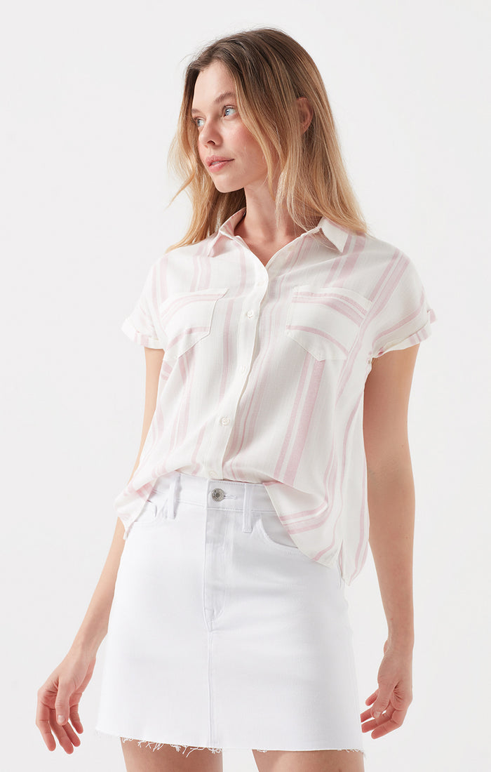 DANICA BUTTON-UP T-SHIRT BLOUSE IN PINK STRIPED - Mavi Jeans