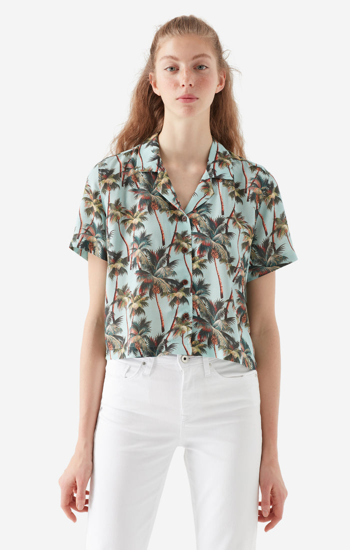 FIONA CROPPED BLOUSE IN GREEN - Mavi Jeans
