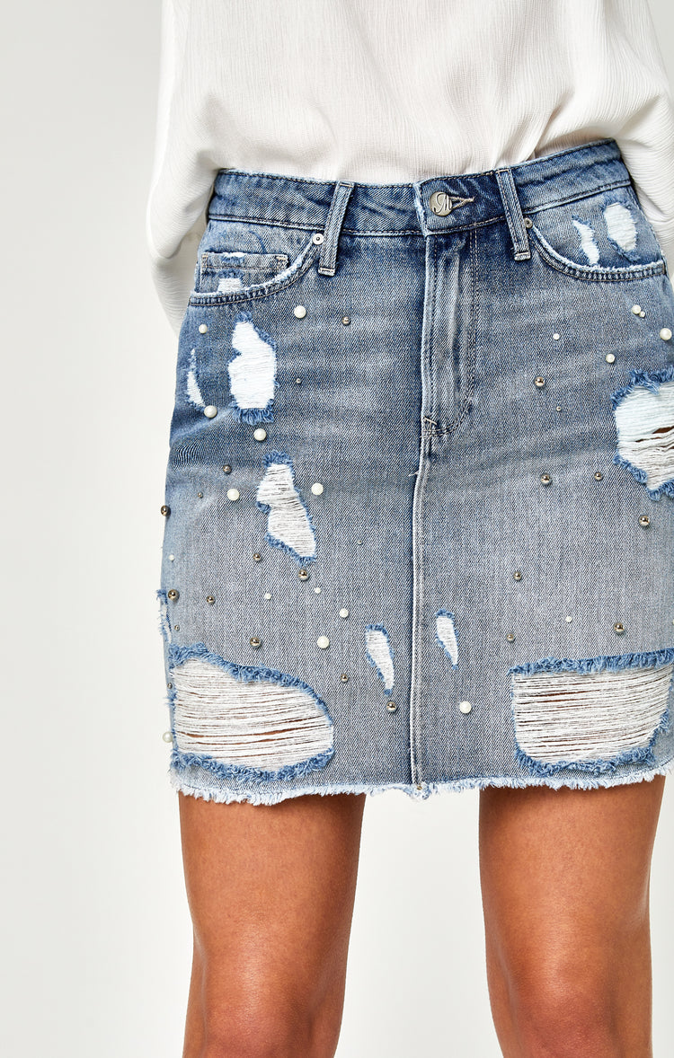 FRIDA SKIRT IN LIGHT RIPPED PEARL - Skirts - Mavi Jeans