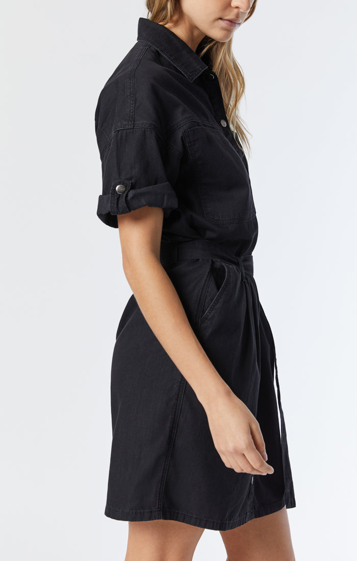 AVERY DENIM SHIRT DRESS IN SMOKED USED GOLD ICON - Mavi Jeans