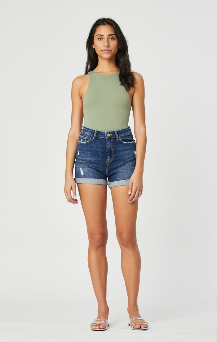 ELLA SHORTS IN DARK BRUSHED VINTAGE - Mavi Jeans
