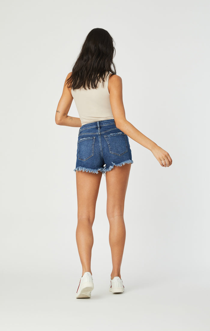 ROSIE SHORTS IN DARK RIPPED 90'S STRETCH - Mavi Jeans