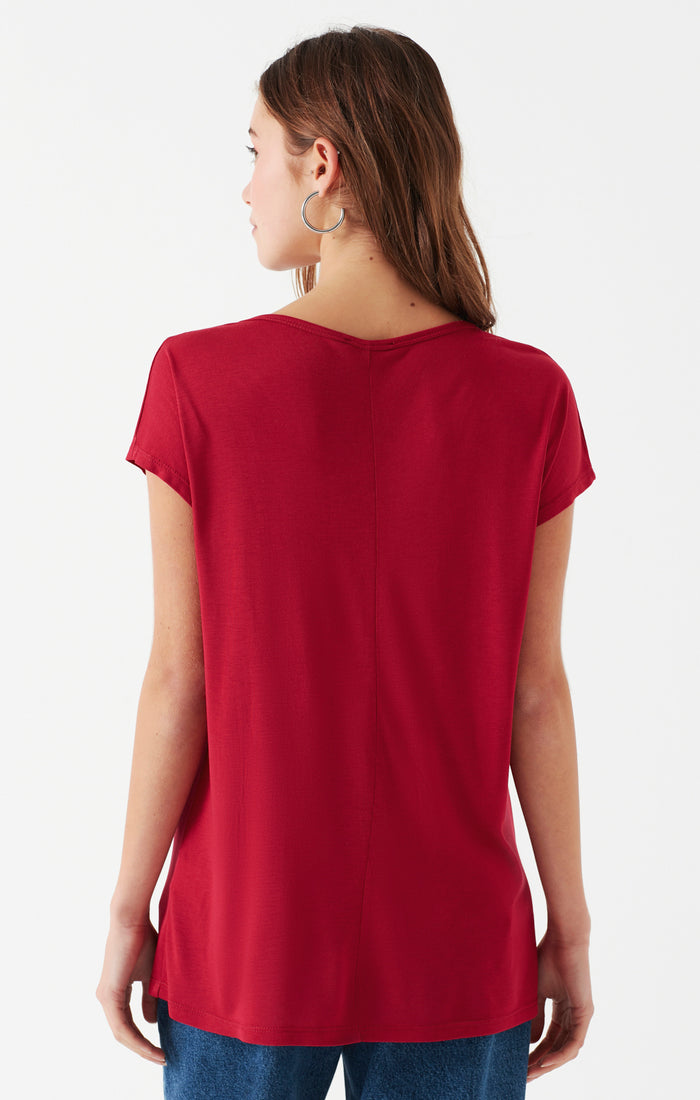 DIANNA OVERSIZED SCOOP NECK T-SHIRT IN RED - Mavi Jeans