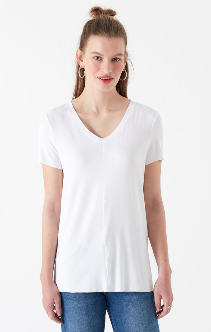 ELLE LONG V-NECK T-SHIRT IN WHITE - Mavi Jeans