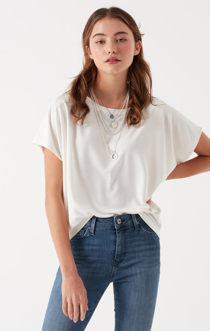 HEATHER RELAXED WIDE NECK T-SHIRT IN ANTIQUE WHITE - Mavi Jeans