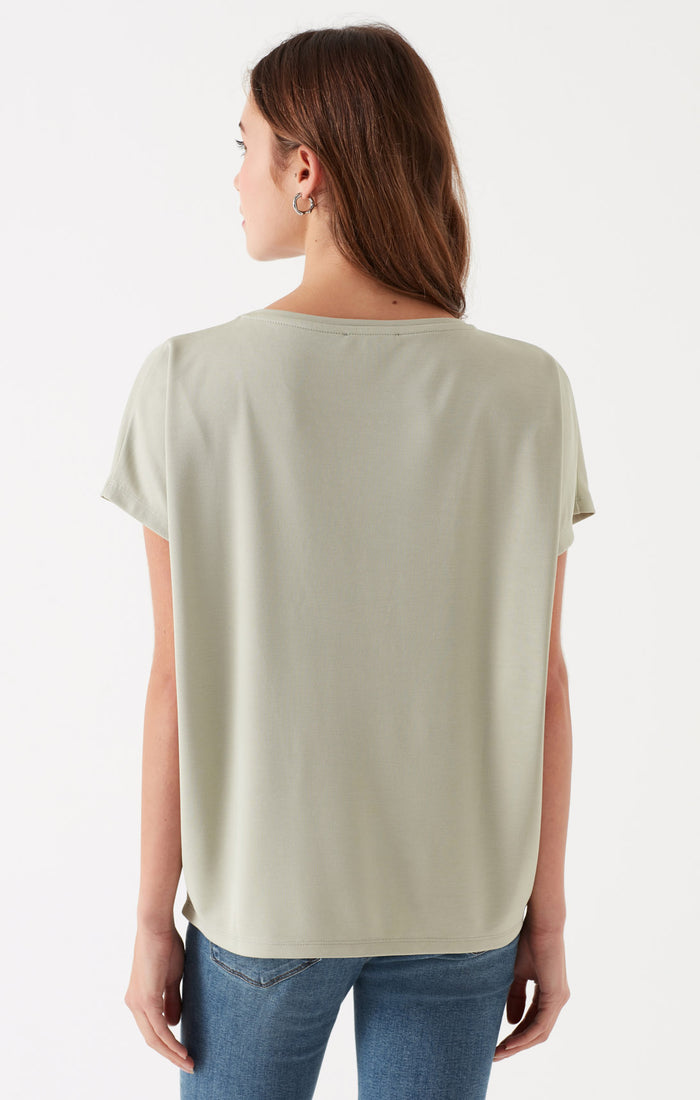 HEATHER RELAXED WIDE NECK T-SHIRT IN LIGHT GREEN - Mavi Jeans