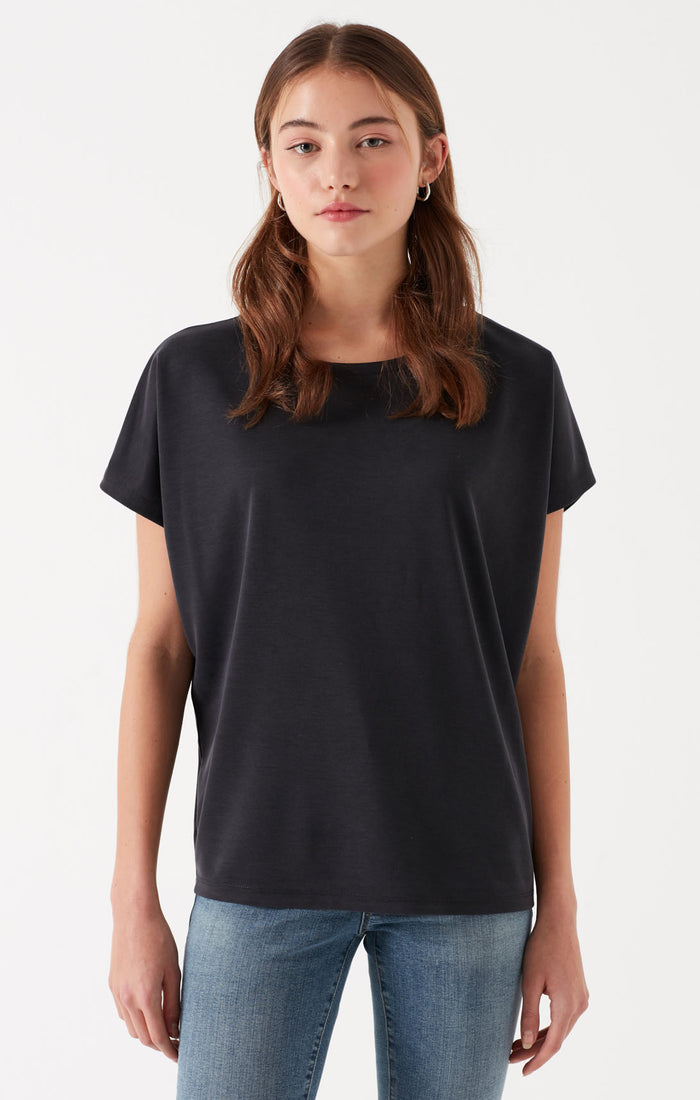 HEATHER RELAXED WIDE NECK T-SHIRT IN BLACK - Mavi Jeans