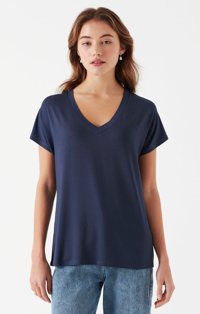 HANNAH BASIC V-NECK T-SHIRT IN INDIGO - Mavi Jeans
