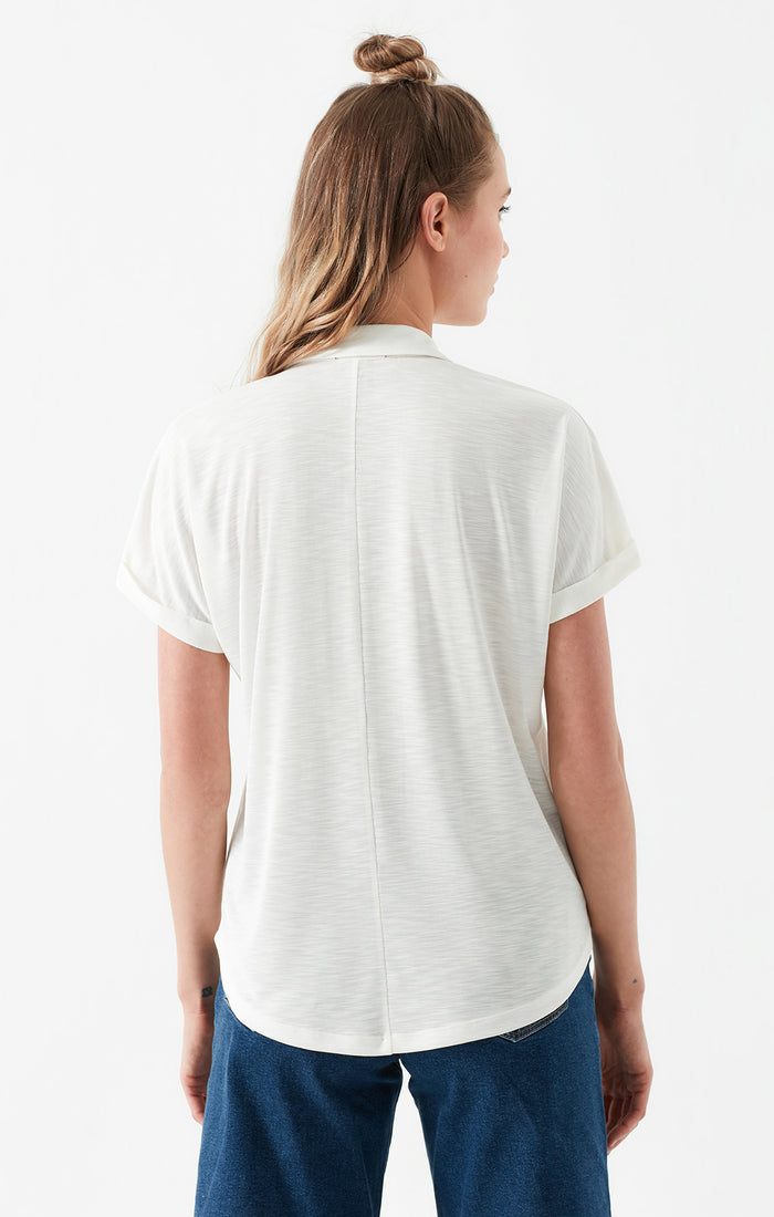 JASMINE BUTTON-UP POLO T-SHIRT IN WHITE - Mavi Jeans
