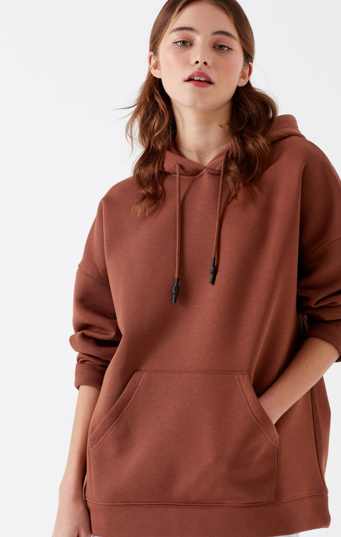SOFIYA OVERSIZED HOODIE IN DARK BROWN - Mavi Jeans