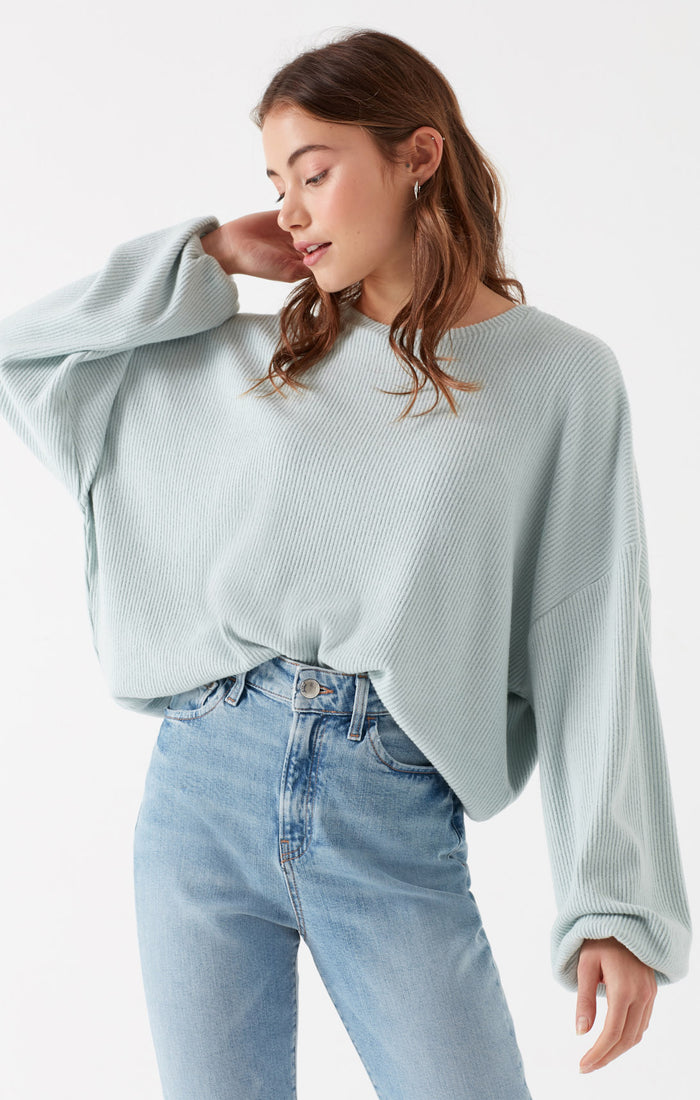 NANCY BALLOON SLEEVE TOP IN CAMEO GREEN - Mavi Jeans