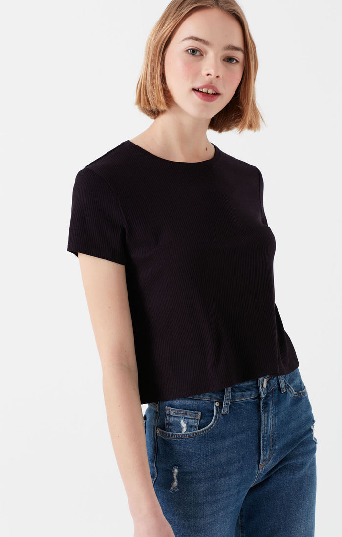HOPE SLIM FIT CREWNECK T-SHIRT IN BLACK - Mavi Jeans