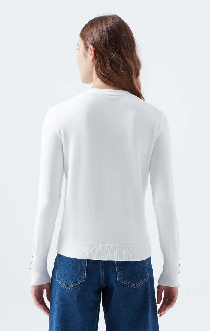 BRITTANY KNIT CARDIGAN IN WHITE - Mavi Jeans