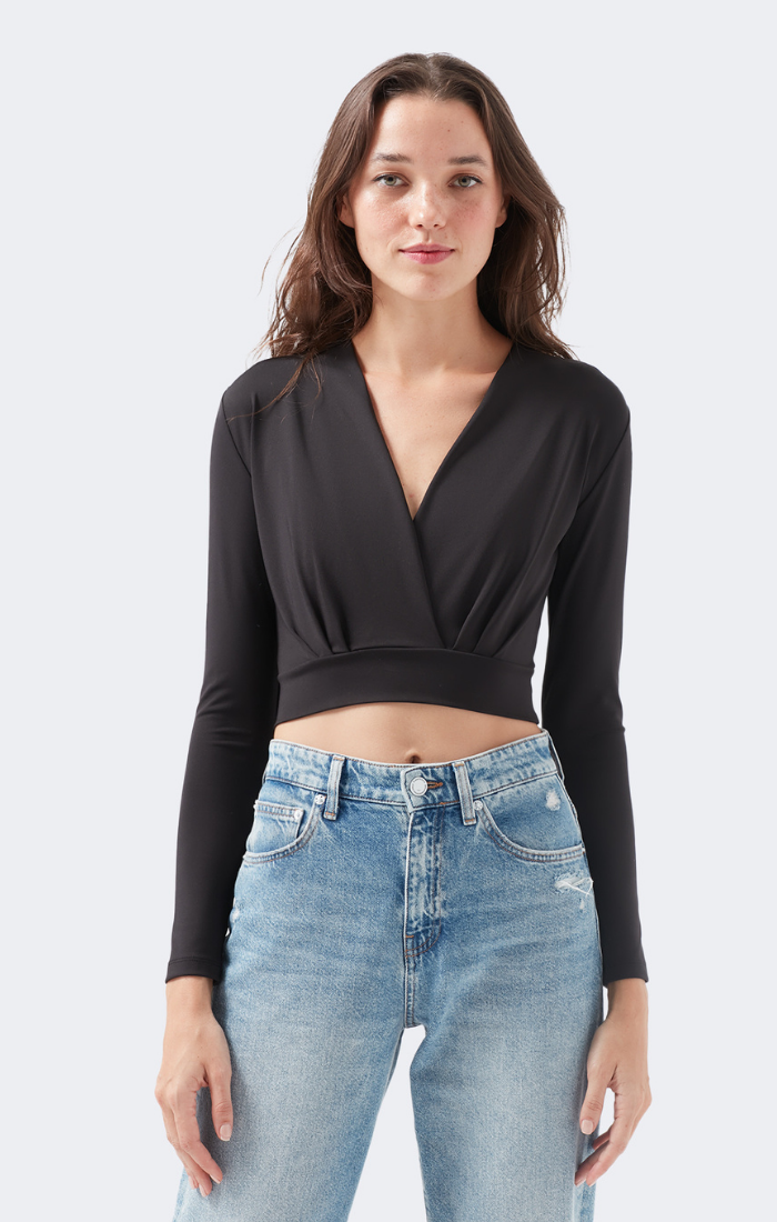 FLORA LONG SLEEVE CROP TOP IN BLACK - Mavi Jeans