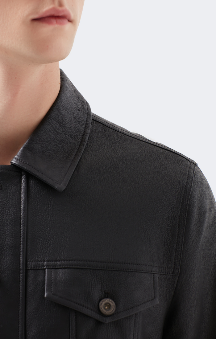 ERIC SLIM FIT FAUX LEATHER JACKET IN BLACK - Mavi Jeans