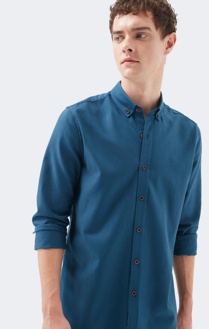 BOBBY EXTRA SLIM FIT BUTTON DOWN SHIRT IN OCEAN BLUE - Mavi Jeans