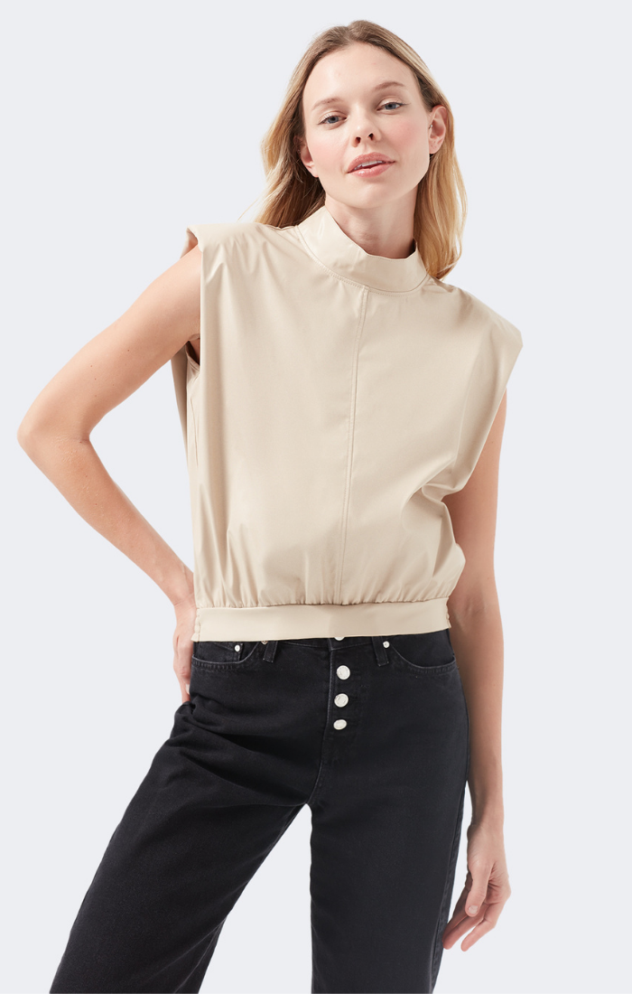 JEAN SHOULDER PAD TANK TOP IN FAUX LEATHER NUDE - Mavi Jeans