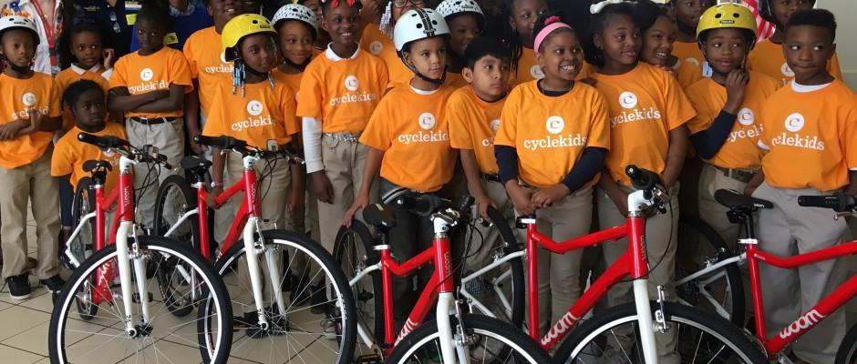 Cycle Kids, a group of children with their woom bikes