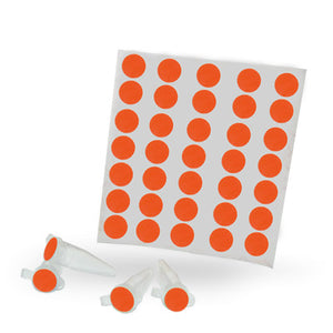 Dot Labels Sheets 1/2″ Diam. – Fluorescent Red - Uniscience Corp.