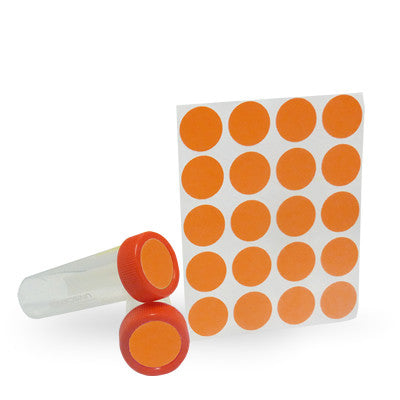 Dot Labels Sheets 1″ Diam. – Orange - Uniscience Corp.
