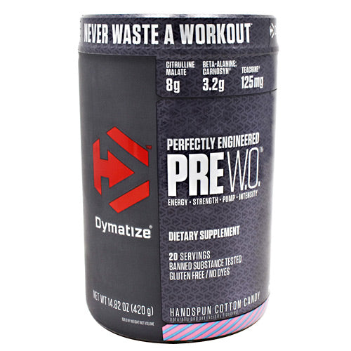 Dymatize Pre W.O. - Handspun Cotton Candy - 20 Servings - 705016171019