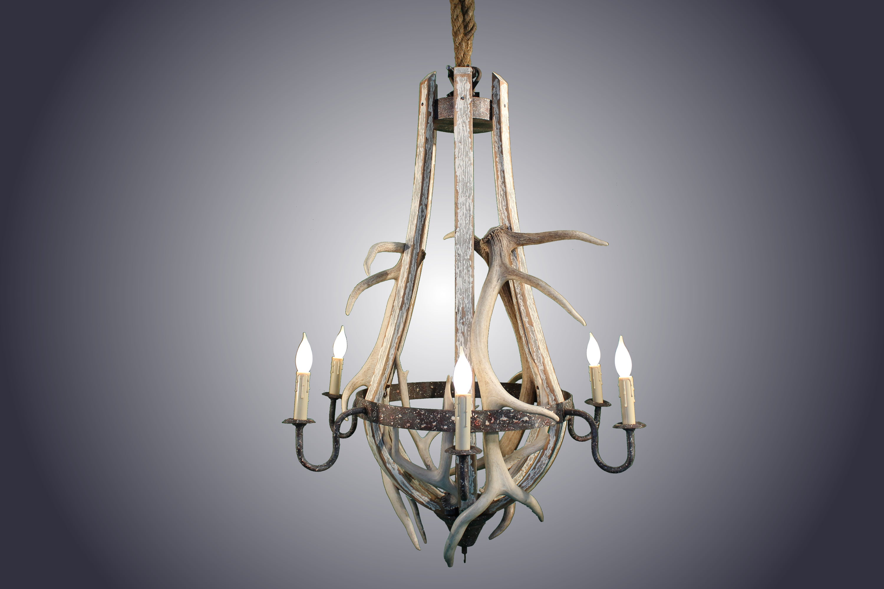 6 light Tier-Drop 3 Elk/3 Mule Deer Antler Chandelier (AWC-52) - Antlerworx