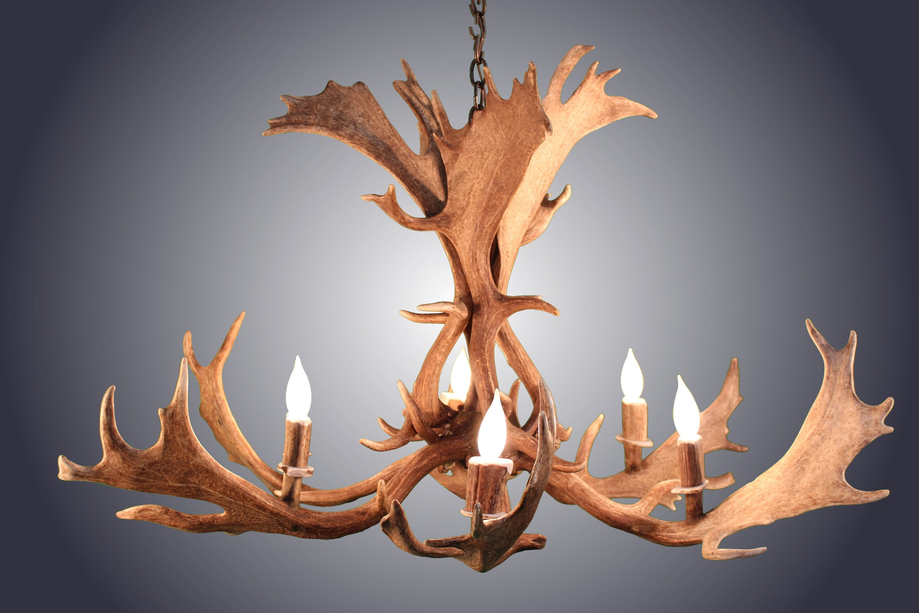 """Dimensions 38"""" Wide 24"""" Tall Antler Chandelier Proudly American"""