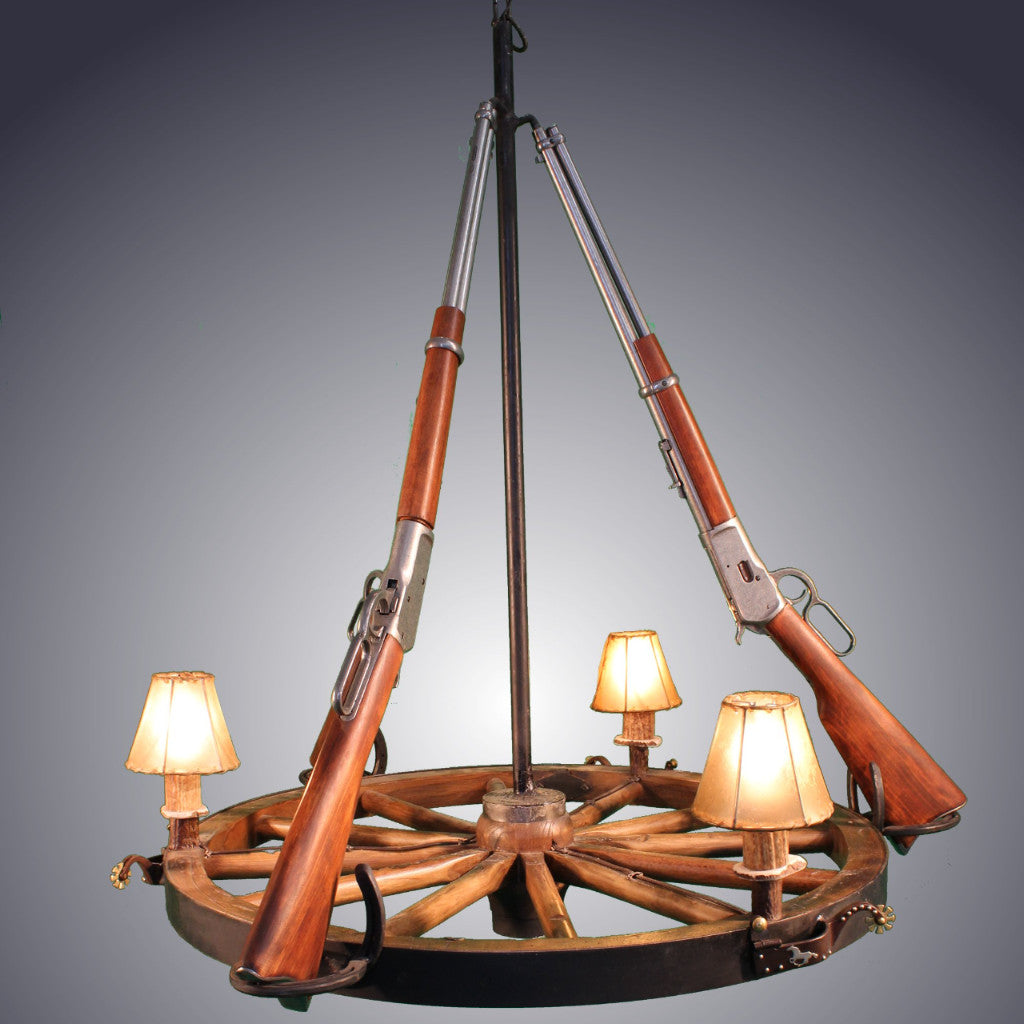 Western chandeliers antlerworx 3 light wagon wheel rifle chandelier 3 rifles awc 73 arubaitofo Image collections