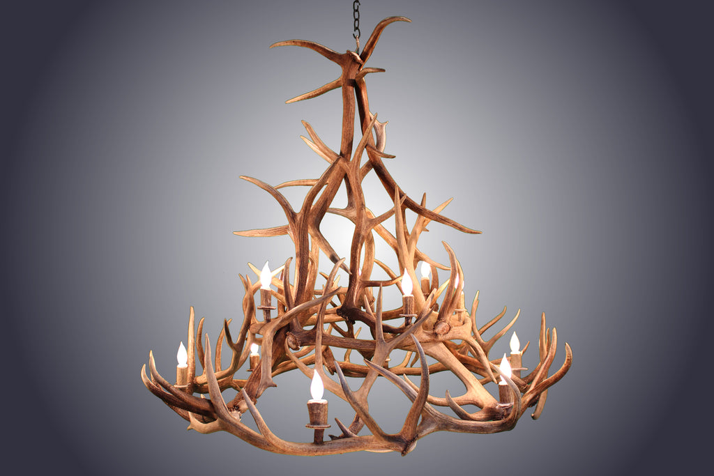 12 Light Elk Wagon Wheel Tall Antler Chandelier (AWC-87) - Antlerworx