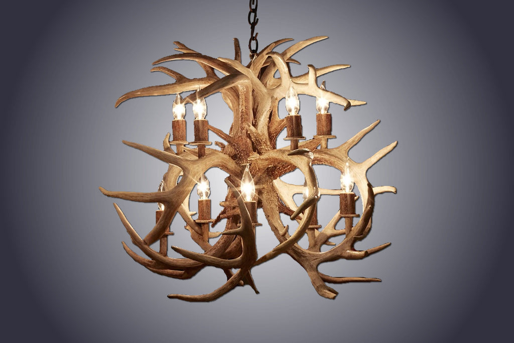 10 Light Bloom Mule Deer Antler Chandelier (AWC-92) - Antlerworx