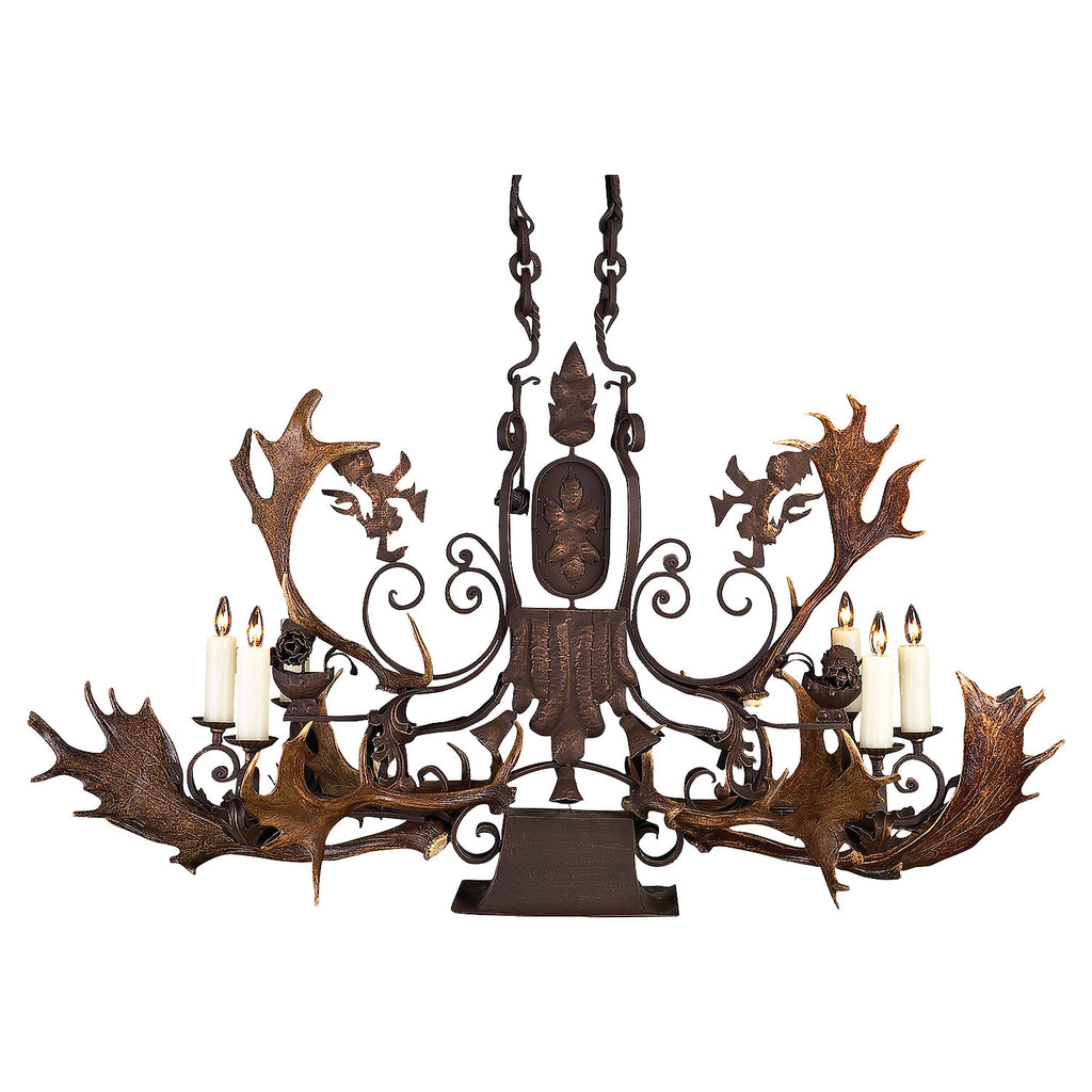 6 Light Lion Chandelier w/Down Light & Antlers - Antlerworx