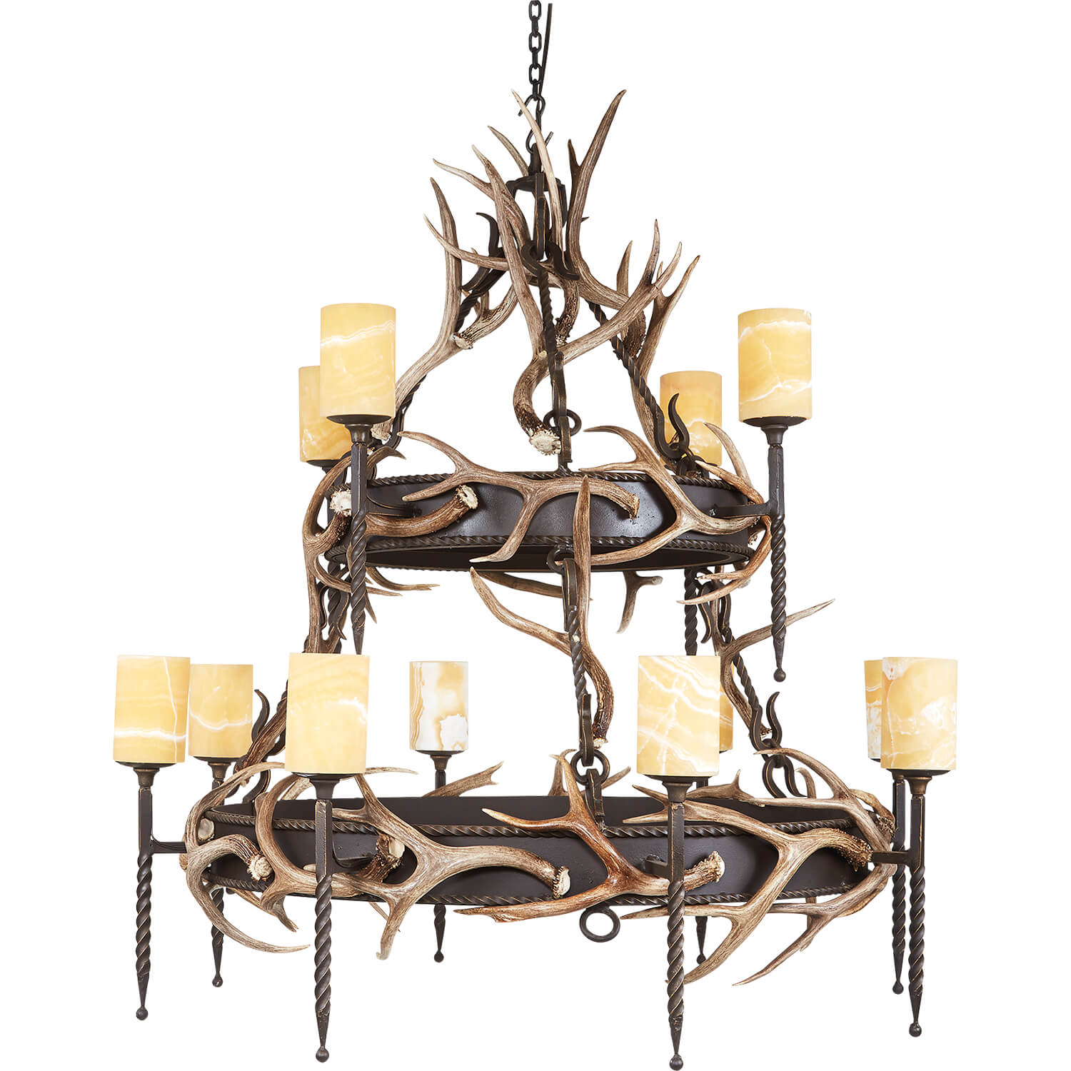 12 Light, 2 Tier Lodge with Antlers & Onyx - Antlerworx