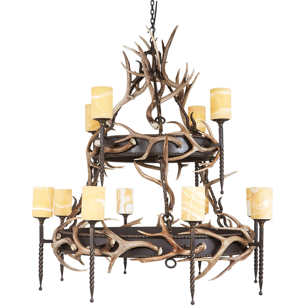12 Light, 2 Tier Lodge with Antlers & Onyx