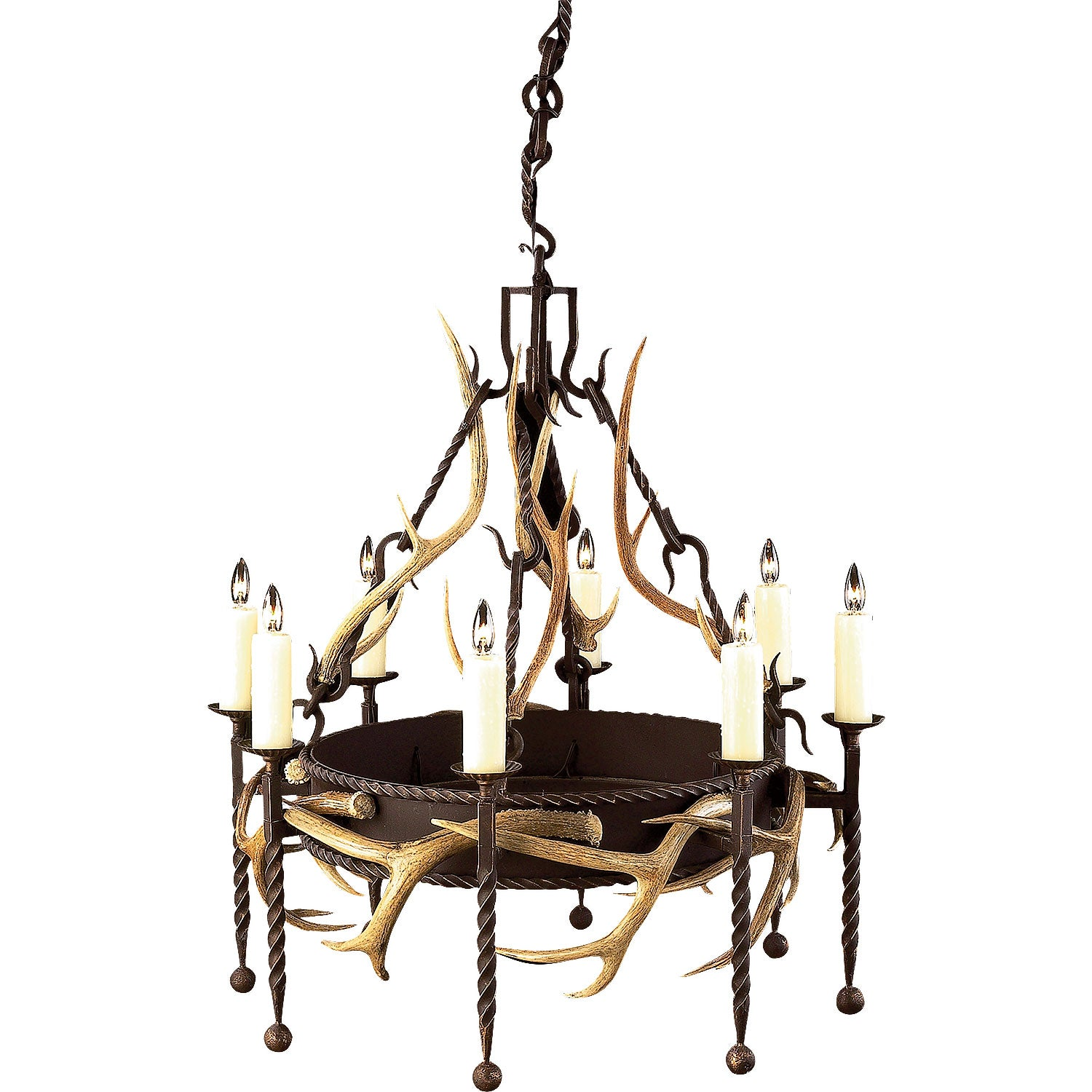 8 Light, Single Tier Lodge with Antlers - Antlerworx
